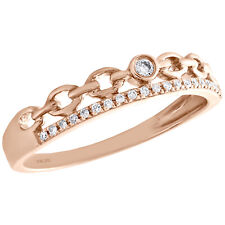 Link Right Hand Cocktail Ring 1/12 Ct. 10K Rose Gold Bezel Set Diamond Chain
