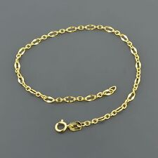 10K YELLOW GOLD 2.5MM WIDE 3/1 FLAT OVAL CABLE LINK 7.5 INCH BRACELET