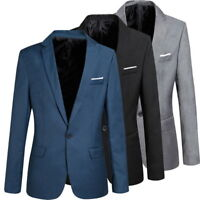 Men's Small Suit Jacket Business Blazer Slim Fit Jacket Coat Wedding Tops S-4XL