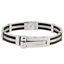 Stainless Steel & Rubber Handcuff Bangle Men Bracelet A