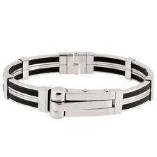 Stainless Steel & Rubber Handcuff Bangle Men Bracelet A