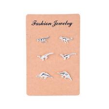 3 Pairs/1 Set stud earrings animal dinosaur metal stud wedding  jewelry earrings