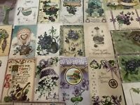 Lot of 25 Pretty *Purple~Violets Flowers~Vintage~Floral Greetings Postcards-a750