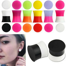 1-2 Pair Twin Two Tone Color Double Flare Saddle Silicone Ear Plug Gauge 6g-5/8""