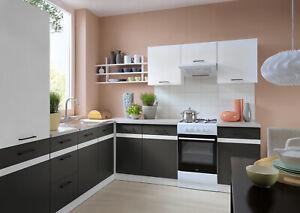 7 kitchen units set, white gloss and grey matt kitchen units Junona 240cm