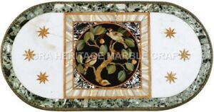4'x2' White Marble Conference Table Top Bird Mosaic Inlay Outdoor Decor H5122