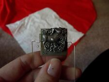 Antique Dress Scarf Tie Clip pin holder silver signed CHINA SILVER dragon fu-dog