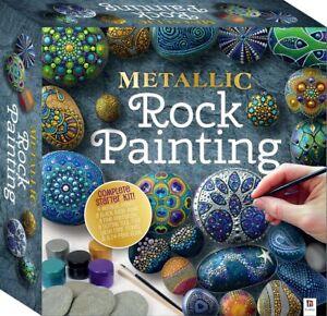 Rock / Pebble Craft Sets - Metallic Rock Painting Kit Set Full Starter Kit