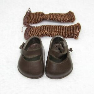"""Vintage Vogue BROWN SHOES & SOCKS for 7"""" Ginny Doll EXCELLENT Unused Condition"""