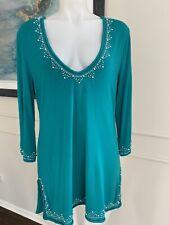 Soft Surroundings Woman's Blouse Aqua Blue Pearls Sz L ~ GORGEOUS ~