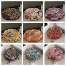 handmade patchwork floor pillow pouf cover cotton embroidery cushion cover throw