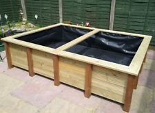 More details for large raised garden pond handmade wooden water feature bench top fish pool 8x6'