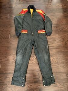 Vintage Snow Snowmobile Suit Ski Suit Made in USA Youth Large Stripe Red Yellow