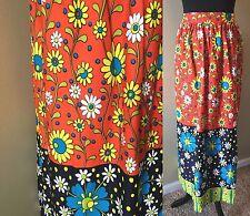Vintage 1970s Daisy Flower Power Orange Blue Green Hippy Maxi Skirt size S SK2