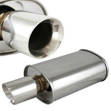 "Polished Spun-locked Exhaust Oval Muffler Double Wall 3.5"" Slant Tip 2.5"" Inlet"