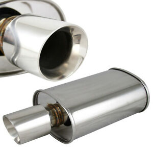 """Polished Spun-locked Exhaust Oval Muffler Double Wall 3.5"""" Slant Tip 2.5"""" Inlet"""