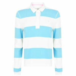 Jack Wills Womens Criggan Rugby Shirt Polo Long Sleeve Tee Top Cotton Stripe