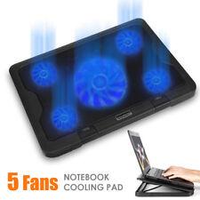 5 Fans LED USB Port Cooling Stand Pad Cooler For 10''-17'' Laptop Macbook Acer