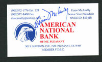Ernie McAnally signed autograph auto American National Bank Business Card BC285