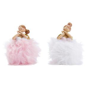 Deko-Figuren-Set, 2-tlg. Rosa & Blanca Engel mit Plüschkleid Weihnachts-Deko