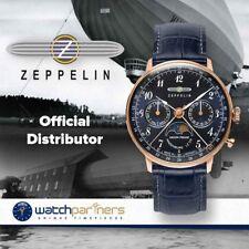 Zeppelin LZ129 Hindenburg Ladies watch Blu/Blk dial RGold case Moon phase 7039-3