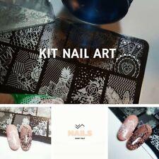 Kit Timbro & Raschietto Set Stampa Unghie Timbratura Nail Art Piastra Alluminio