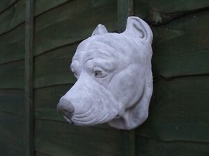 LARGE STONE AMERICAN PIT BULL TERRIER DOG  DOGS HEAD  WALL SCULPTURE