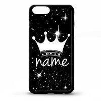 Queen Crown Tiara Princess black graphic art personalised name phone case cover