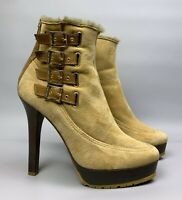 JIMMY CHOO Shearling Fur Ankle Boots Size 39,5 Tan Suede Taurus Heelled Bootie