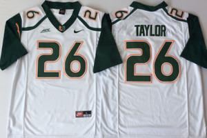 Men's Miami Hurricanes White #26 TAYLOR Custom Jersey