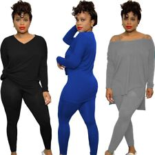 NEW Stylish Women Long Sleeves Solid Color Patchwork Casual Long Jumpsuit 2pcs
