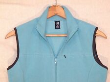 Gap full zip light aqua blue fitted fleece vest / women M / nice / b47