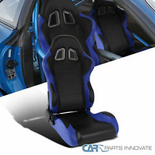 Black Blue Fully Reclinable PVC Leather Passenger Side Racing Seat w/ Slider