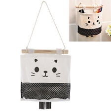 Cartoon Hanging Storage Bag Cotton Linen Wardrobe Hang Bag Wall Pouch Organizer