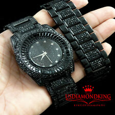 MEN'S NEW BLACK GOLD FINISH LAB DIAMOND ICE OUT BRACELET & WATCH SET JET BLACK