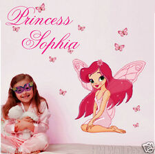 PERSONALISE Kids name & FAIRY, BUTTERFLIES wall sticker,for who desire special
