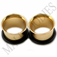 "0856 Gold Single Flare Flesh Tunnels Earlets Big Gauges 1/2"" Plugs 12.7mm PAIR"