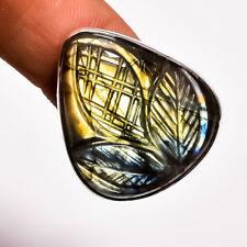 925 Sterling Silver Ring Size US 9, Fire Play Labradorite Carved Gemstone CP4423