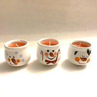 Vtg Set of 3 Snowman Hand Painted Filled Candle Trio Brightens Up The Holiday