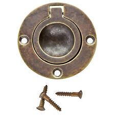 1-3/4 in Round Recessed Ring Pull, Antique Brass