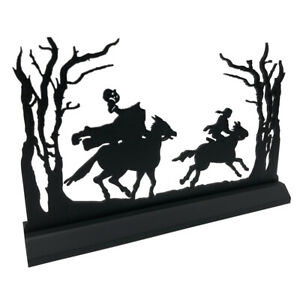 "11"" Standing Wooden Headless Horseman Scene Silhouette Halloween Decoration"
