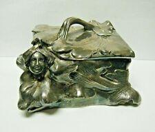 Vintage Art Nouveau Casket Silver Plate Jewelry Box Florals and a Lady