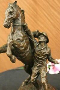 Rare Signed Original Art Deco Rearing Horse Marble Hand Made Bronze Sculpture