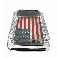 """Vintage American Flag Glass Ashtray D1 4""""x3"""" United States of America"""