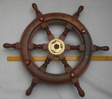 Schiffssteuerrad Steuerrad mit eingelegtem Seil und Messing Nabe Ø 30 cm