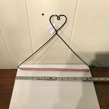 "Black Wire Quilt Hanger with Heart on Top & Wood Dowel 13"" Wide x 10"" Tall New"