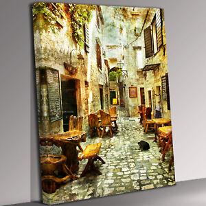 Italian Street Scene Canvas Wall Art Picture Print