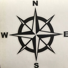 Compass rose Nautical window Decal 14 x 14 Sticker 7 year Vinyl  Flat Black