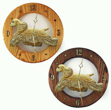 Cocker Spaniel Wood Wall Clock Plaque Buff