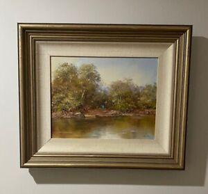 "Stunning John Biosetto Framed Original Oil Painting ""Audley Royal National Park"""